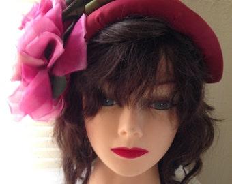 Vintage 1930'S LILLY DACHE Wine Silk Half Hat
