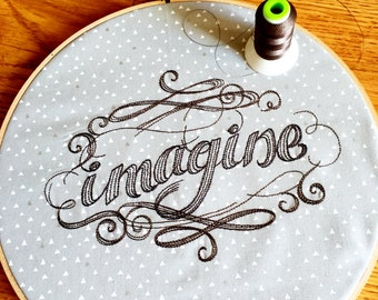 Imagine Embroidered Hoop Art