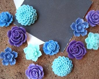 Fun Thumbtacks, 12 pc Flower Pushpins, Purple, Blue and Aqua, Office Supply, Bulletin Board Thumbtacks, Wedding Decor, Housewarming Gift