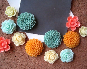 Pretty Flower Thumbtacks, Push Pin Set, 12 pcs Pushpins in Greens, Oranges, Cream, Bulletin Board Tacks, Wedding Decor, Housewarming Gift