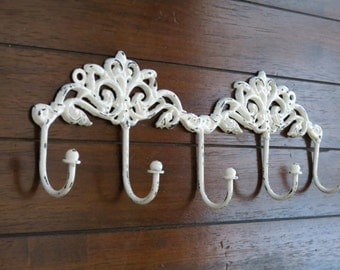 Shabby Chic Wall Hook Rack / Entrance Coat Hanger / Decorative Bathroom Towel Rack  / Jewelry Organizer / Antique White or Pick Color