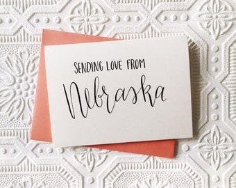 Send Love From ... cards | Set of 4 notecards | Customizable state card | Handmade To-Order | Modern Calligraphy