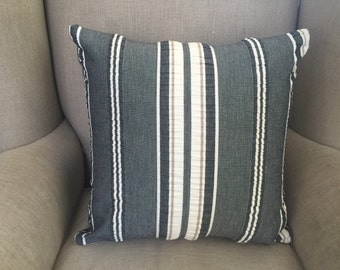 Charcoal Square Cushion/Pillow Cover in Warwick Striped Fabric.