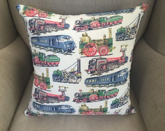 Cath Kidston Cushion Cover/Pillow in Vintage Trains Steam Railway with a Denim Backing.
