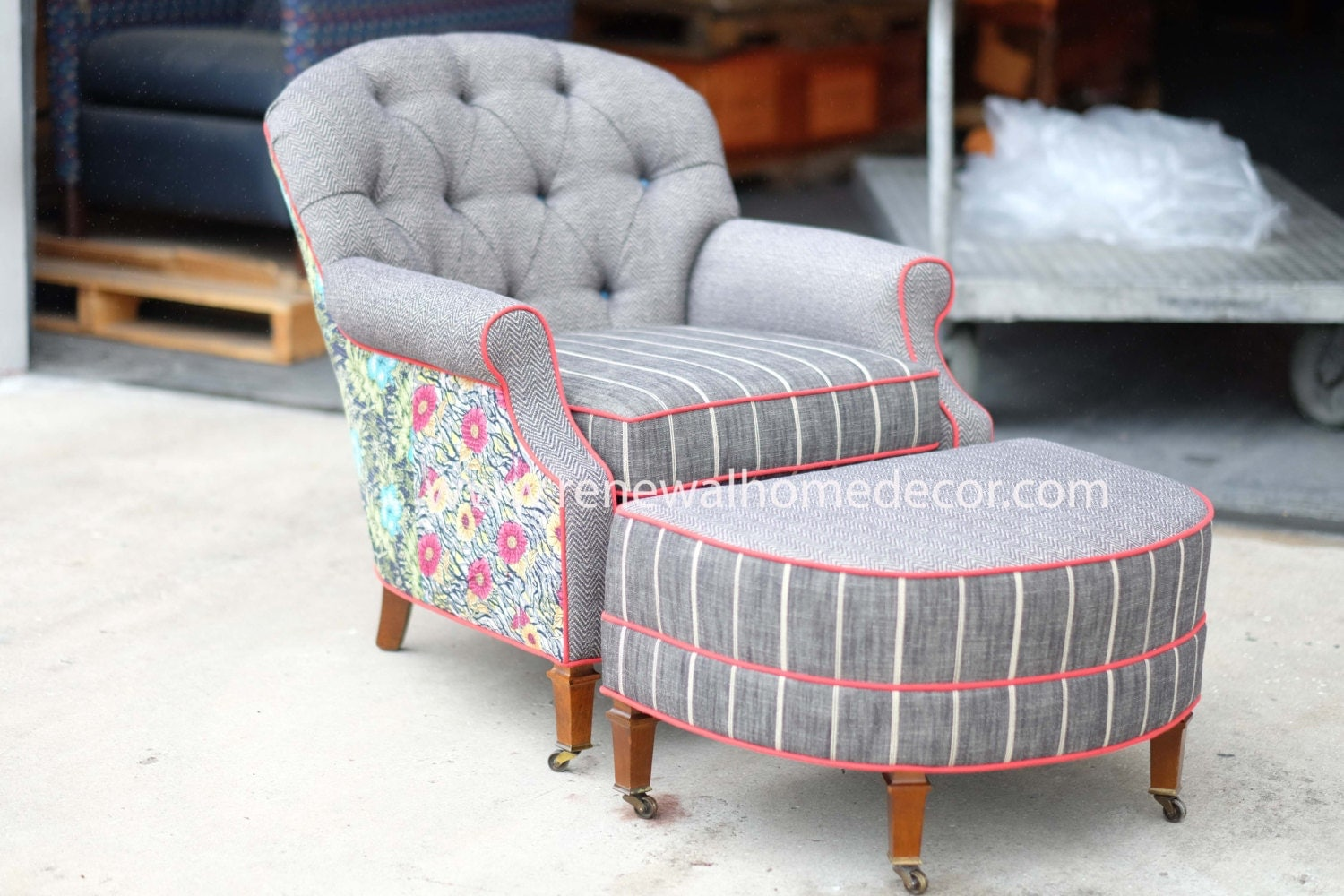 For Kirk Upholstered Club Chair And Ottoman Bohemian