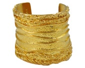 Sonia Rykiel Paris signed Cuff Bracelet Vintage large baroque slave goldtone textured and carved