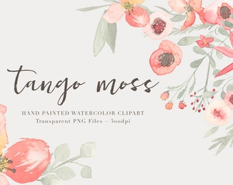 Tango Watercolor Flowers  Clipart Files - High Res Transparent PNG - Hand Painted Digital Scrapbook elements - Instant download