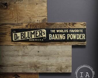 Vintage Dr Blumer's Baking Powder Tin Advertising Sign