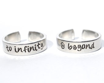 To infinity & beyond aluminum adjustable ring pair ready to ship