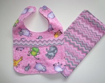 Baby Bib and Burp cloth set, Mom and Baby, Shower gift, Absorbent cotton flannel
