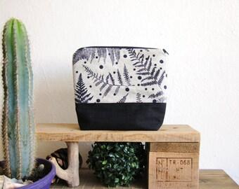 Linen cosmetics pouch, Hand Printed ferns, Blue ferns stamp, big makeup organizer, polka dots