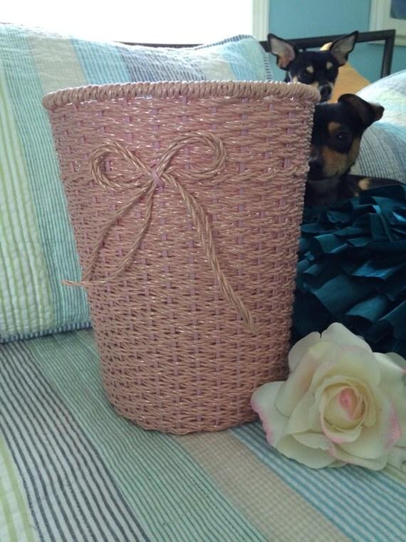 Vintage shabby chic wicker waste basket - Shabby chic wastebasket ...