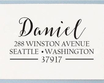 Custom Return Address Stamp - Calligraphy Self Inking Address Stamp or Handle Mounted - T20