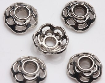 10 pcs Tibet Silver Loose Spacer Bead Caps,size 8x2mm.Good for pendant,bracelet,earrings.Free USA shipping!