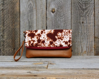 Leather clutch purse, Evening clutch, Fold over clutch,spring butterfly print clutch, evening bag, Leather trim small handbag