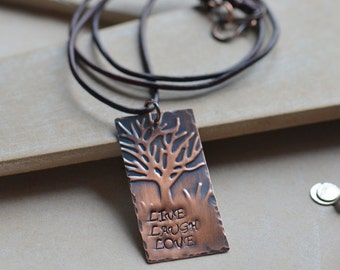 Handmade Copper Embossed Hand Stamped Necklace, Live Laugh Love on Brown Leather Cord