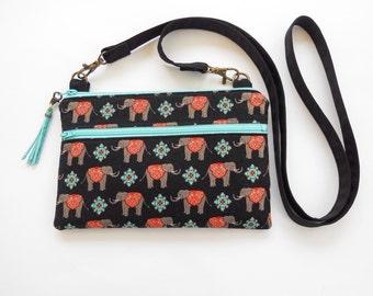 Small  Crossbody Bag Phone Wallet Purse Fits iPhone 6, 6 Plus, 7, 7 Plus Tiny Elephants