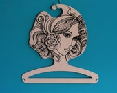 RESERVED for BLUEBEARS - Cloth Hanger Mannequin Head Mod Retro Op Art 1970s plastic  black and white boutique Coat Face Hanger Shop Display