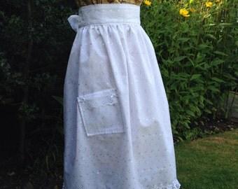Retro Vintage Style White Embroidered Cotton Apron, wedding, christening, party