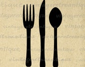 Printable Image Fork Knife and Spoon Silverware Food Icon Download Digital Graphic Vintage Clip Art Jpg Png Eps 18x18 HQ 300dpi No.4027