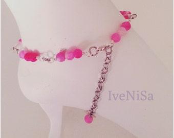 Ankle bracelet and toe ring set. handmade. ankle bracelet. women bracelet. pink bracelet. agate beads. toe ring. handmade ankle bracelet.