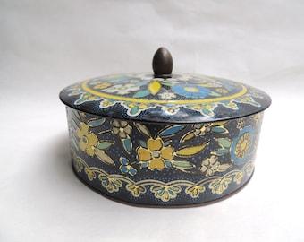 Vintage English Tin, Boho Style Blue Floral Cookie Tin, Mid Century