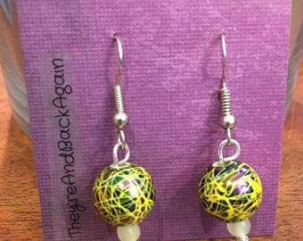 Yellow Crackle&GlowInTheDark Bead Earrings