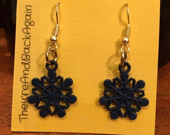 Blue&Silver Snowflake Earrings