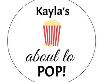 12 Popcorn About to Pop Stickers, Baby Shower, She's About to Pop, Popcorn Labels, Goodie Bags, Movie Theme, Popcorn Bag Stickers