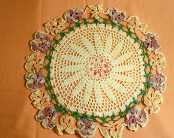 Beautiful And Unusual Vintage Oval Doily - Cecelia-Marie - 134