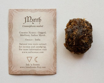 Guggul Myrrh Resin - Commiphora mukul (Natural Resin Incense) (1 ounce)