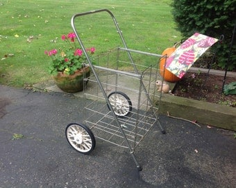Vintage Wheeled Metal Cart Flea Market Cart Industrial Cart Metal Garden Cart Wheeled Shopping Cart Collapsible Cart