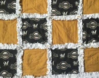 Milwaukee Brewers baby rag quilt