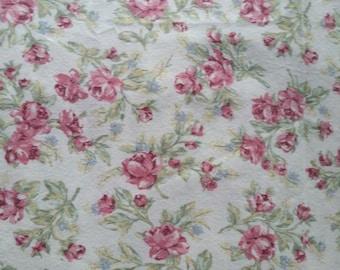 Pink Floral Cotton Flat Sheet - Queen Size - Eddie Bauer Home