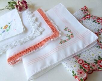 Wedding   Handkerchiefs , Vintage Hankies   ,  Hanky ,  Batiste  Embroidery , Orange   Handkerchiefs - set  of 5.