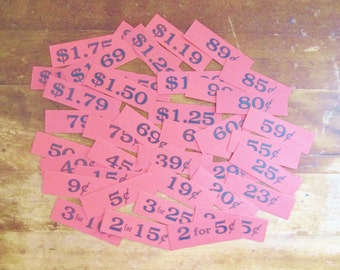 Vintage Store Price Tags 1940's General Store Grocery Store Shelf Tags 40 Piece Lot Bright Red Black Ink