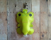 Frog Hand Sanitizer Holder- Lime Green Embroidered Vinyl with Snap, Great for Backpacks, Bags and Purses, US Made, Quick Ship, Animal Case