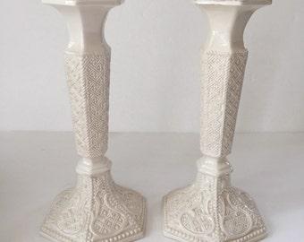 Vintage Ornate White Ceramic Candlesticks Made in Italy