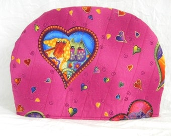 Teapot Cozy Laurel Burch Cats in Hearts Print Quilted and Mug Rugs To Keep Your Tea Warm Tea Cozy! Insulated 6-8  Cup Cozy FREE US Shipping