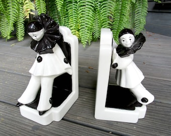 Vintage Bookends, Clown Bookends, Pierrot Clown Mime Bookends, Black White Bookends, Vintage Office Decor