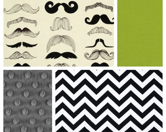 Moustache Boy Bedding - Custom Minky Blanket, Sheet and Crib Skirt in Black, Lime and Grey