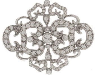 Jackie Kennedy Brooch - Silver Filigree with Crystals, Box and Certificate