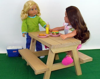 18 inch Doll Furniture, American Made, Doll Furniture, Picnic Table