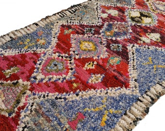 "122""X57"" Vintage Moroccan rug woven by hand from scraps of fabric / boucherouite / boucherouette"