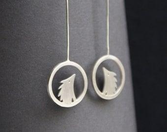 Little hedgehog silver drop earrings