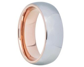 Rose Gold Tungsten Wedding Band,Rose Gold Tungsten Wedding Ring,Anniversary Band,Rose Gold Tungsten,18k,Engagement Band,Comfort Fit