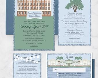 Venue Wedding Invitation Set - Venue Invitation Suite - Location Illustration - Charleston Invitations