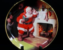 Vintage 1993 Franklin Mint The Pause That Refreshes Coca Cola Santa Christmas Plate