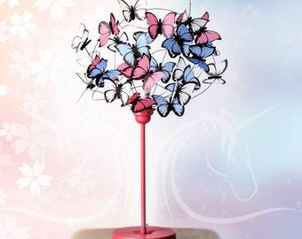 Table lamp with pink butterflies-Butterfly Nursery,Decor Baby Girl Nursery,Kids Room Decor,girl gift,butterfly lover gift,girl room light