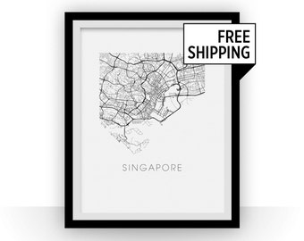 Singapore Map Print
